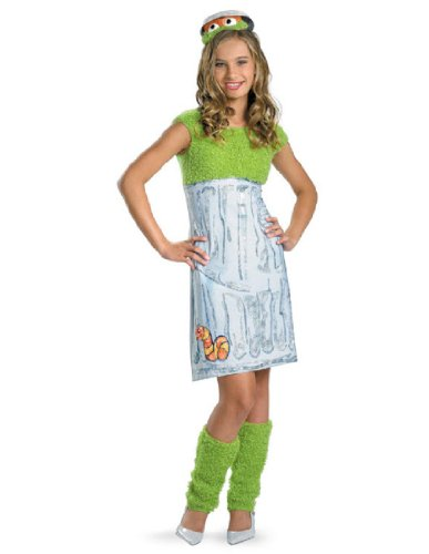Oscar Sesame Street Costume (Disguise Sesame Street Oscar Teen Girl Girls Costume, X-Large/14-16)