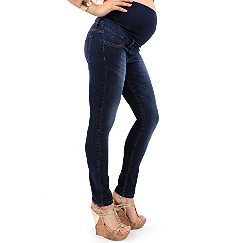 MamaJeans Milano Dark Blue Denim Maternity Jeans Made In Italy, Size - 28