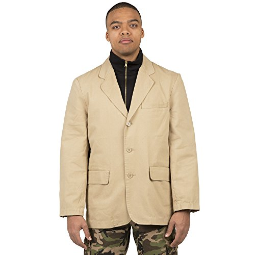 Vibes Gold Label Men Khaki Twill Casual Blazer Jacket 3 Button Front Enzyme (Mens Sports Wears)
