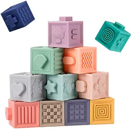 Baby Blocks Soft Building Stacking Blocks,Teething Chewing Squeeze Early Educational Toys with Number Animals Textures Fruits,Learning Math and Color Toy Gift for 6 Months+ Boys and Girls