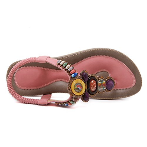 Sandalias de vestir para mujer, YoungSoul Sandalias etnicas planas con cuentas Zapatos de verano bohemia Chanclas playa Pink