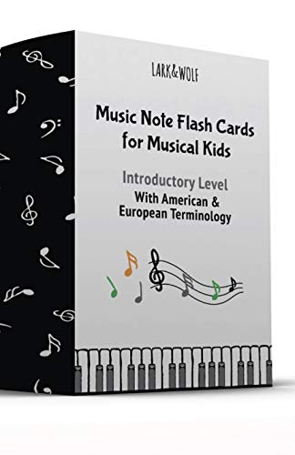 Lark and Wolf Music Flash cards for piano kids ( USA and UK terminology), 56 Large Size (13cm x 8cm) Music Flashcards, Learn to read music SIGHT-READING, INTRODUCTORY LEVEL, FOR KIDS (BIG AND SMALL!)