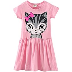 LittleSpring Little Girls' Dresses Summer Cat Printing 7 Pink