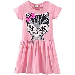 LittleSpring Little Girls' Dresses Summer Cat Printing 7 Pink