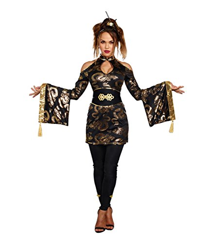 Dreamgirl Women's Golden Geisha, Black/Gold, S