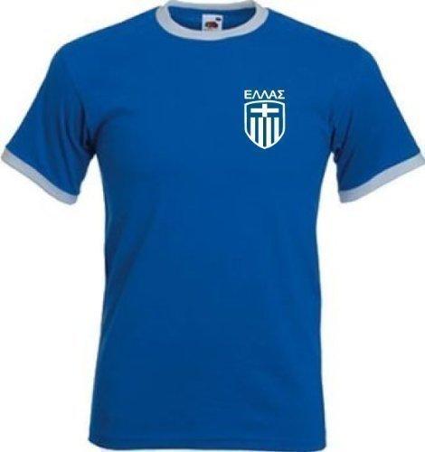 Greece Griego Ελλάδος Estilo Retro Equipo De Fútbol camiseta – Todas Las Tallas – Azul / Blanco, Grande