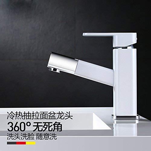 JingJingnet 洗面器のミキサーの蛇口の浴室の流しのコック、プルダウンの蛇口への銅の洗面器、単一のハンドルの正方形の引き込み式の熱く、冷たい洗面器のプルダウンの蛇口、 (Color : B) B07RRTS6CR B