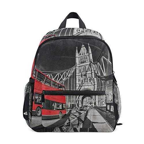 Famous Tower Bridge Red Bus School Backpack for Boys Kids Preschool School Bag Toddler Bookbag