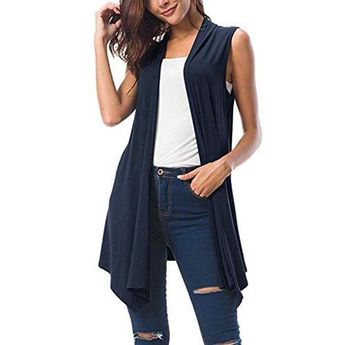 - Sunhusing Women's Solid Color Sleeveless Draped Sexy Cardigan Tops Asymmetrical Irregular Hem Loose Vest Navy