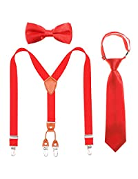 Children Boys Suspenders Bowtie Necktie - Adjustable Elastic Y shape Strong Clips Suspenders Set for Boys and Girls (Red, (31.5-33.5 Inch (8 Years - 5 Feet Tall))