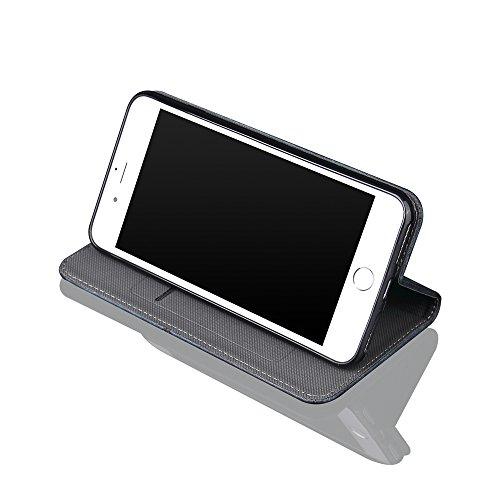 para iPhone 7 Wallet Phone Case, Vandot Premium PU Cuero Caja del Teléfono de la Carpeta con Desmontable TPU Bumper Phone Shell y Ranuras Tarjeta de Crédito y Makeup Mirror Multifuncional Mano Bolsa p Bronze-1