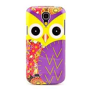 GONGXI-Purple Pattern Owl Hermosa duro Volver Funda para el Samsung Galaxy S4 Mini I9190