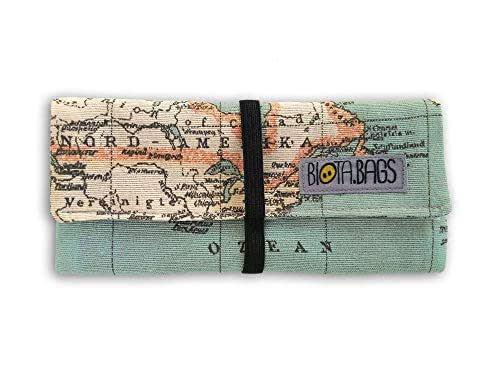Pitillera tabaco de liar mapamundi cierre goma, complemento para fumador