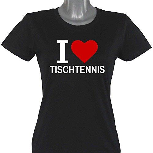 T-Shirt Classic I Love Tischtennis schwarz Damen Gr. S bis XXL