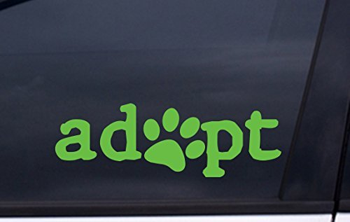 focenterprises-adopt-dog-paw-decal-2x6-green-rescue-pound-puppy-sticker