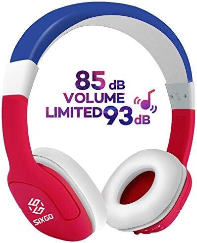 SIXGO Kids Bluetooth HeadphonesKids Headphones 85db 95db Volume Limited Hearing Protection Child Wireless Bluetooth Headset3.5mm Jack on Ear HeadphonesAdjustable Headband for Kids