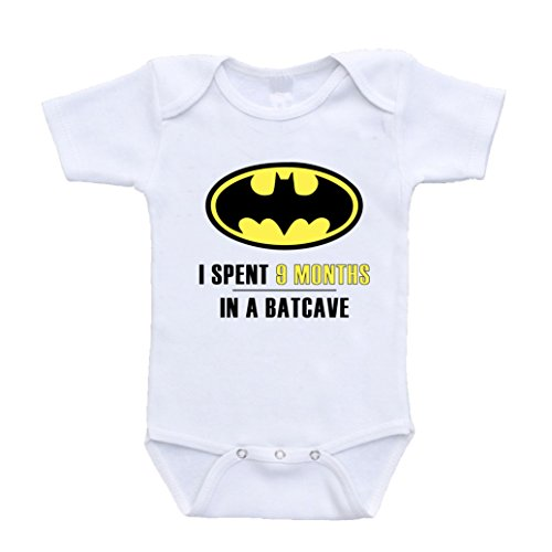 [I Spent 9 Months in a Batcave Nine Batman Parody Bodysuit (3-6 Months)] (Cave Baby Girl Costumes)