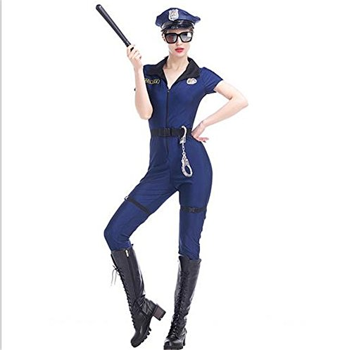 Woman Police Officer Uniform (TeeNoke Women's Sexy Police Uniform Dirty Cop Officer Masquerade Clothes with Handcuffs)