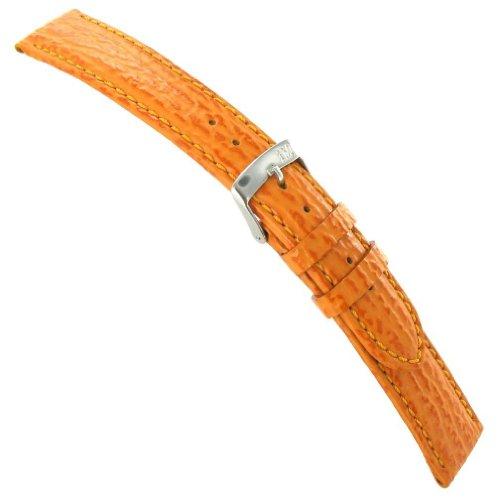 Genuine Shark Watch - 20mm Morellato Shark Grain Genuine Italian Leather Orange Stitched Watch Band