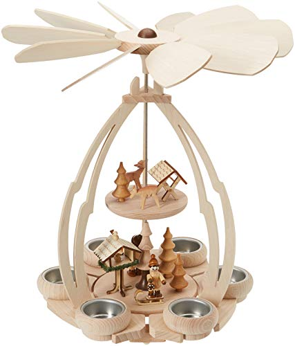 - Sigro Erzgebirges Wooden Table Pyramid with Bird Feeding Figure for 6 Tealights, 35 x 24 x 24, Wood, Beige, One Size