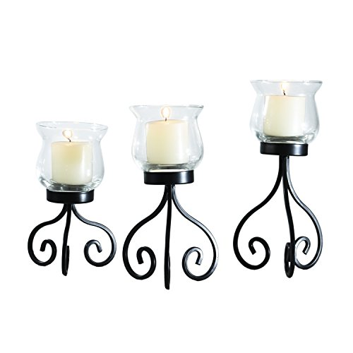 Adeco Decorative Iron Vertical Table Standing Candle Pillar Holder, Antique Vintage Vine Bubs Style, Classy Home Decor Accents, Set Of Three