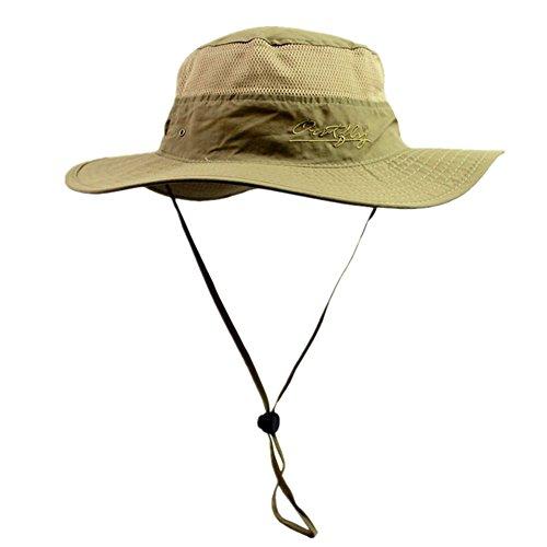 Home Prefer Unisex Daily Outdoor Sun Hat Camouflage Mesh Bucket (Brim Khaki)
