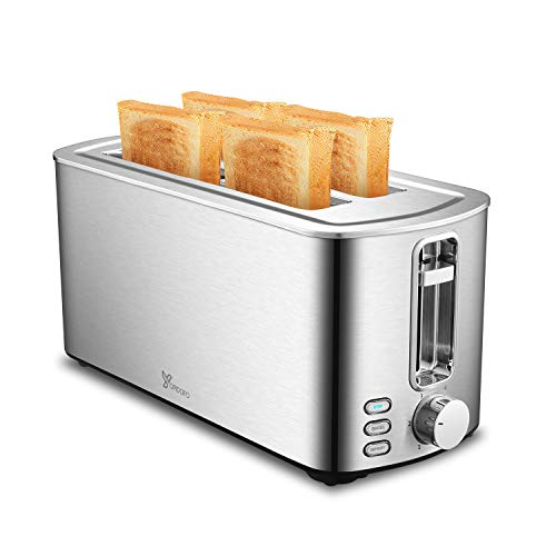 YOPIDOFO Toaster 4 Slice, Stainless Steel Toaster with 6 Shade Setting, Bread Toaster with Bagel/Defrost/Cancel Function…