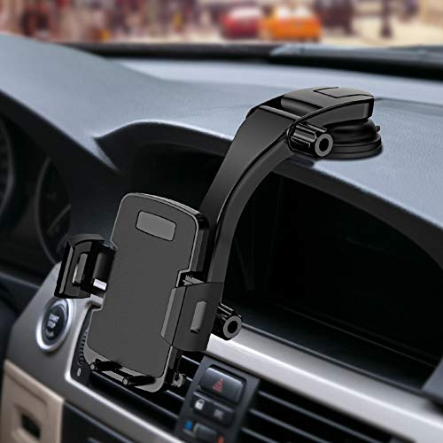 Miracase Cell Phone Holder for Car,Upgrade Dashboard & Windshield 360 Rotation One Button Car Phone Mount Holder Compatible iPhone Xs MAX/XS/XR/X/8plus/7/8/6,Galaxy S10/S9/S8,Google,Huawei(4-6.5)