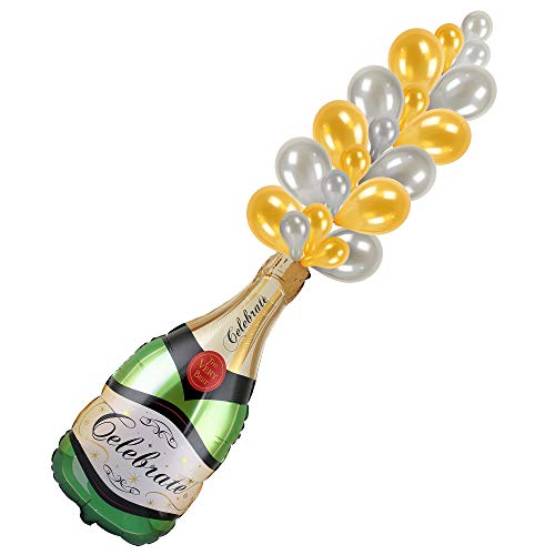 (Champagne Bottle Balloon Kit with Balloon Bubbles and Hand Balloon Pump - Party Decorations for Bachelorette, Bridal Shower, Birthday, Bubbly Bar, Mimosa Bar, Engagement, Anniversary, Brunch)