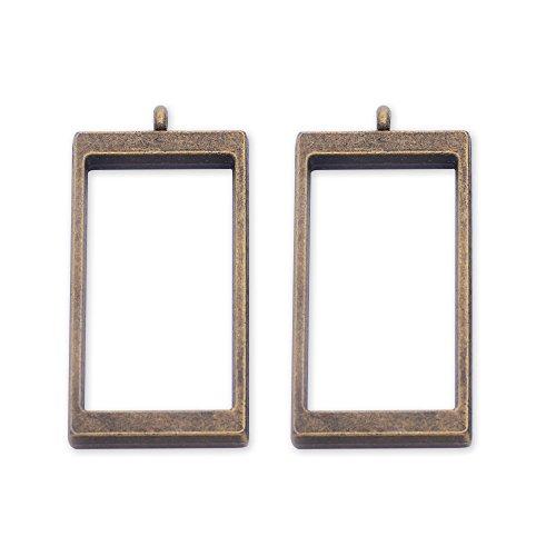 10pcs 40.4x21.5mm Rectangular framework open back pendant,zinc alloy accessories,resin mould,antique bronze (Resin Accessories)