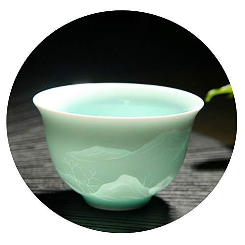 2 Piece porcelain carved tea cups handmade cups and mugs creative kung fu drinkware,5