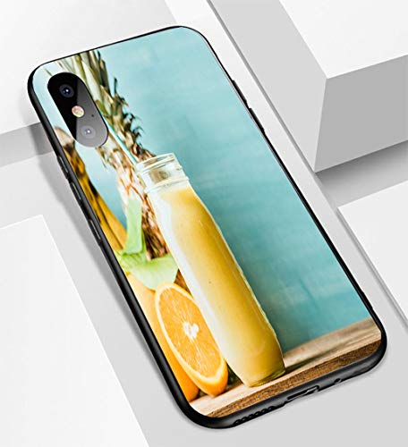iPhone X/XS Ultra-Thin Glass Back Phone case,Freshly Blended Yellow and Orange Fruit Smoothie in Glass jar Soft and Easy to Protect The Protective case