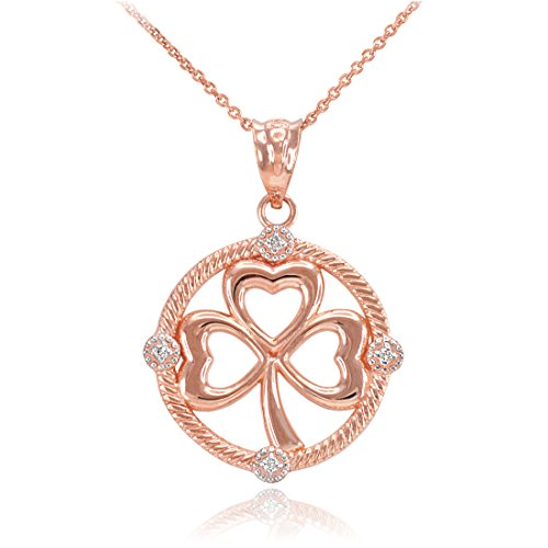 14K Rose Gold Irish Shamrock Clover Diamond Pendant Necklace (18)