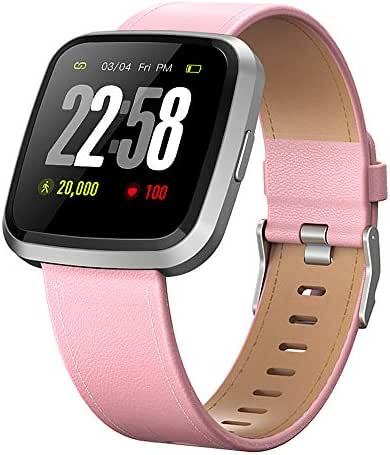 H4 Fitness Health 2in1 Smart Watch for Women with Activity Tracker All-day Heart Rate Blood Pressure Sleep Monitor Touch Screen Waterproof Running Sports Watch Compare with Android & iOS phones (Pink)