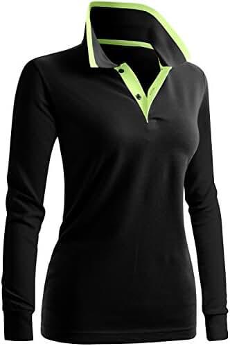 CLOVERY Women's Casual 2-Button Long Sleeve Point Collar POLO Shirt