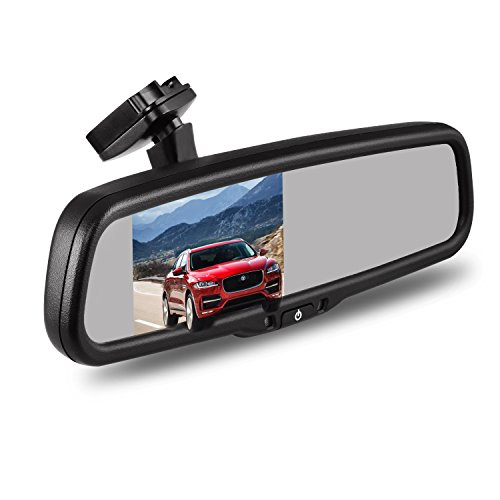 "AUTO-VOX Dual Video Inputs 4.3"" Auto Adjusting Brightness Car Rear View Mirror for Toyota Honda Nissan Mazda Hyundai Kia Ford Pickup and Most Car Model"