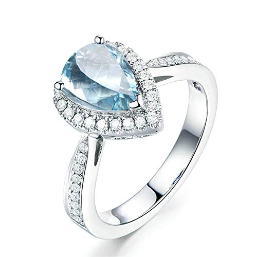 Gnzoe Jewelry-Sterling Silver Cubic Rings for Womenanniversary Rings Blue Created-Topaz December Birthstone Size 6 ()