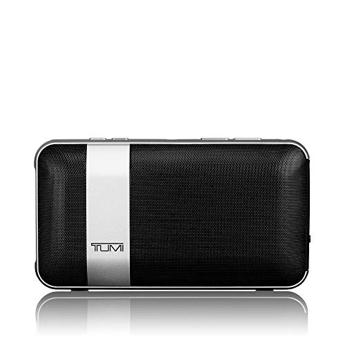 TUMI - Wireless Portable Speaker with 1500mAh /1A Powerbank - Bluetooth Noise Cancelling with Built-in Mic - Black/Silver (Best Home Audio Bluetooth Speakers)