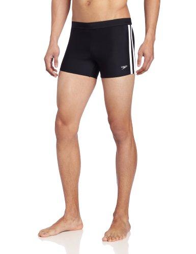 Speedo Men's Xtra Life Lycra Solid Striped Shoreline Square Leg Swimsuit, Black, Large - Lycra Square Leg