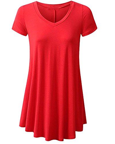 1 a Puro Irregolare Moda Semplice Corta Nero Donna a V Tempo ZiXing Rosso Shirt con Blusa Manica Libero Festa Scollo Bordo Maglietta e Tops Pullover Blouse Tee Colore da 7aAwf8
