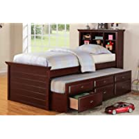 Twin Bed with Trundle in Cherry Brown by Poundex