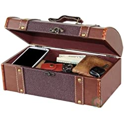 Vintiquewise(TM Dresser Valet Leather Chest with Velvet Lining