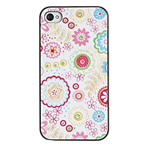 YXF Pink Tones Flowers Pattern PC Hard Case with Black Frame for iPhone 4/4S