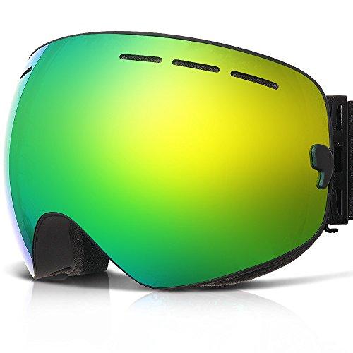 Snowboarding Goggles , ZABERT Ski Snowboard Goggles For Women Men Youth - Over Glasses OTG , Double Lens Anti Fog , Frameless , Interchangeable Lens ,Black - Deck Womens Snowboard