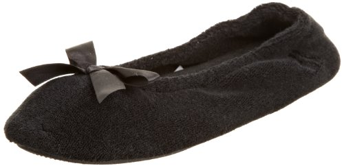 Isotoner Women's Terry Ballerina, Black,Large-8/9 9896H