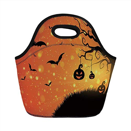 Portable Bento Lunch Bag,Halloween,Magical Fantastic Evil Night Icons Swirled Branches Haunted Forest Hill Decorative,Orange Yellow Black,for Kids Adult Thermal Insulated Tote Bags]()