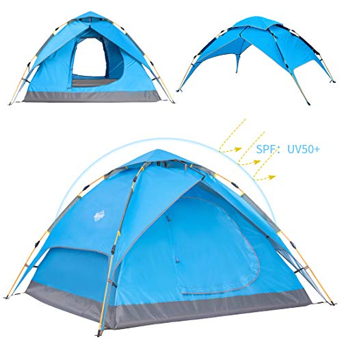 Wantdo 2-3 Person Automatic Instant Tent Pop Up Family Camping Tent Backpacking Tent Multi-Use Shelter Sun Shine Protected Waterproof for Outdoor Mountaineering Fishing Picnic Beach 3 Seasons