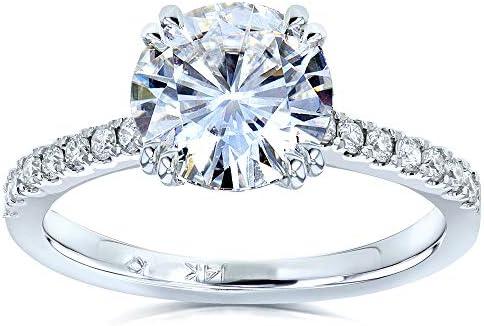 Kobelli Moissanite and Lab Grown Diamond Engagement Ring 1 3/4 CTW 14k White Gold (FG/VS, DEF/VS)