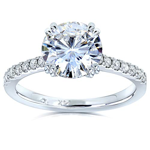 Forever One Moissanite and Lab Grown Diamond Engagement Ring 1 3/4 CTW 14k White Gold (DEF/VS)