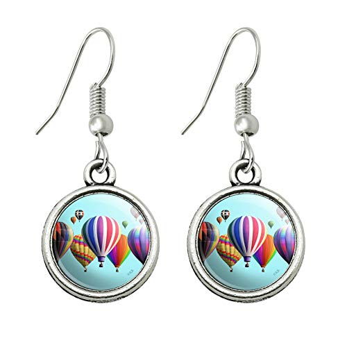 GRAPHICS & MORE Hot Air Balloons Lined Up Novelty Dangling Drop Charm Earrings